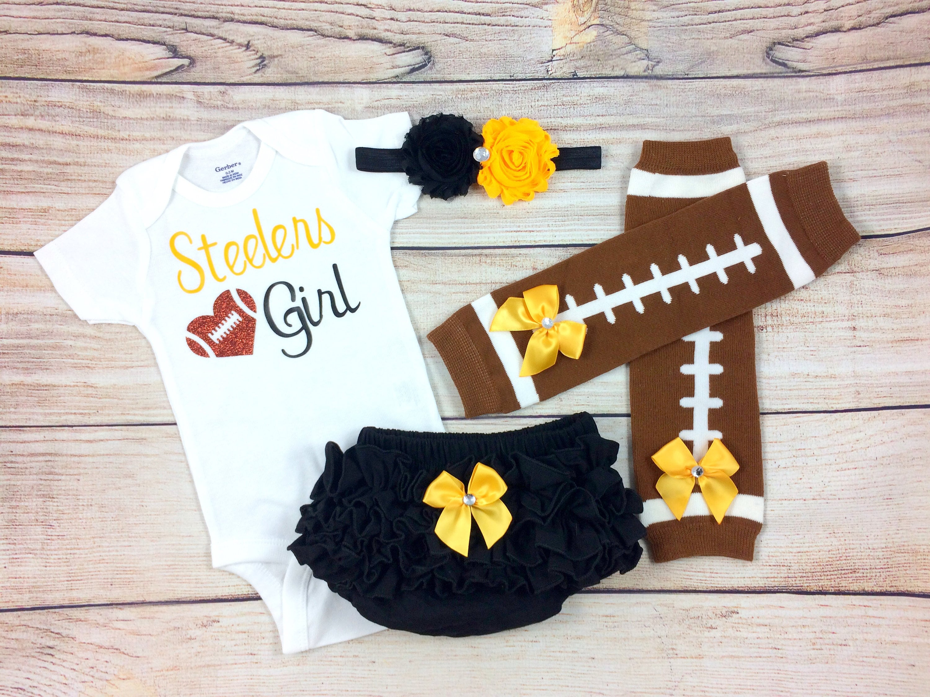 Steelers Girl Baby Football Outfit Cheerleader Game Day