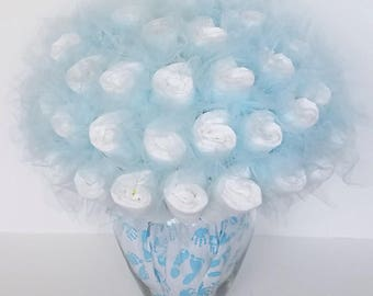 Diaper bouquet - baby boy shower centerpiece - baby shower decorations - unique baby gift - new baby gift- new mom gift - baby shower gift