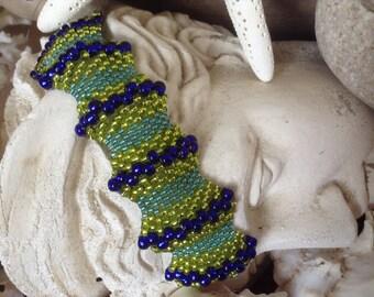 Aqua, Lime and Cobalt Beads Beadwoven Resort Bracelet--Aruba--by Lady Grey Beads