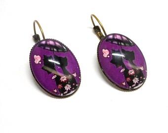 Stud Earrings 18 * 25mm, cats on purple background