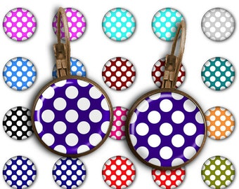 75% OFF SALE Bright Polka Dots - 18mm, 16mm, 14mm, 12mm, 10mm Circles Digital Collage Sheets E-008 Printable for Earring, Jewelry Making
