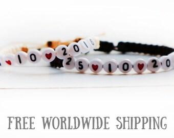 Set of Date Bracelets, Couple bracelets, Anniversary Bracelet, Personalized braided bracelet, Knotted bracelet, His Hers Knotted bracelets