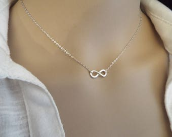 Infinity necklace etsy infinity necklace sterling silver simple everyday necklace sterling silver infinity symbol figure eight necklace dainty infinity charm aloadofball Gallery