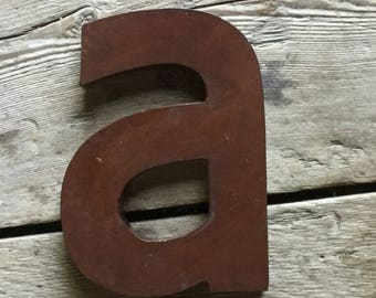 Letter A Industrial metal alphabet salvage art vintage