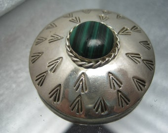 Vintage Sterling SIlver banded Agate Stone Brooch Mexico
