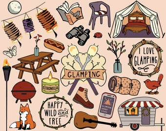 Glamping Clipart, glamping party clipart, tent clipart, camping clipart, glamping clip art, camping clip art, planner stickers