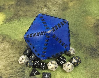 Blue Leather d20 20-sided Dice Shaped Pouch