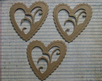 3 Bare chipboard die cuts Filigree Heart  Die Cuts with removable center