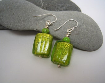 Green Rectangle Dichroic Glass Earrings Topped With Small Speckled Green Bead, Fine Silver Head Pin on Sterling Ear Wires