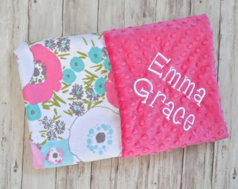 Monogrammed Baby Blanket, Personalized All Minky Hot Pink, Aqua and Gray Flower Blossoms Blanket with name, Newborn Receiving, Feminine