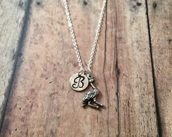 Emu initial necklace - emu jewelry, Australia jewelry, bird jewelry, pewter emu necklace, Australia jewelry, emu bird necklace