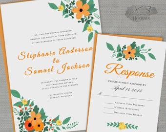Rustic Printable Wedding Invitation, Country Wedding Invitation, Orange Floral Summer Wedding Invite - DIY