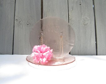 """Arcoroc pink plate,Rosaline salad plates,pair of pink glass,rose etched, dessert plates, 7"""" side plate, cottage chic rose plates,shabby chic"""