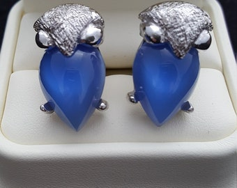 Vintage Womans Owl Cuff Links, Blue Cat Eye Glass, Unique, Bird Cuff Links, Pendent or Owl Button