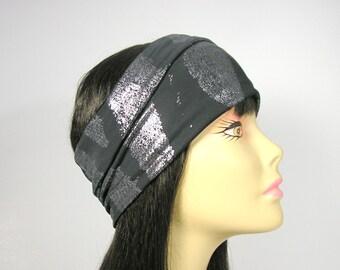 Black and Silver Lycra Head Wrap Yoga Head Wraps Yoga Headbands Turban Head Wraps Black and Metallic Grey Head Wraps Women's Head Wraps