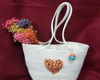 Coiled Cotton Rope Tote with crochet heart shape pocket, egbhouse, 180211