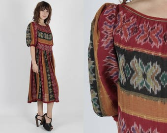 India Dress Indian Dress Adini Dress Boho Dress Bohemian Dress Ethnic Dress Vintage 70s Dress Ethnic Ikat Print Gypsy Festival Midi Maxi
