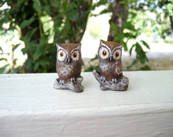Owls, ceramic miniature owls, pair of two owls