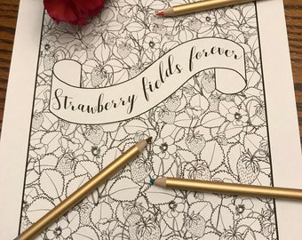 Coloring page, Strawberry fields forever, fruit and flowers printable