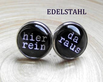 In here-da out statement studs 12 mm stainless steel glass cabochon 12 mm