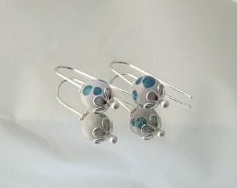 Enameled Copper Earrings••Royal Blue Earrings••Argentium Sterling••Sterling Silver••Drop Earrings••Earring Drops••Elegant••Handmade••OOAK