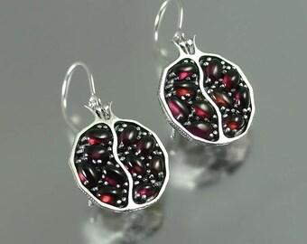 POMEGRANATE garnet silver earrings - Ready to ship