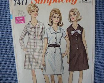 vintage 1960s Simplicity sewing pattern 7477 misses A line dress size 12