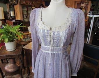 Purple Gunne Sax Dress // Corset Maxi Dress // Size 5 // Empire Waist Renaissance // Lace up Bodice // Hippie Coachella Festival Dress