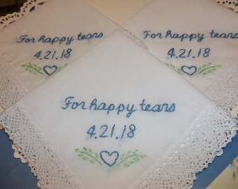 bride gift, something blue, bridesmaid gifts, mother of bride, wedding handkerchief, hand embroidery, for happy tears, rustic weddings,