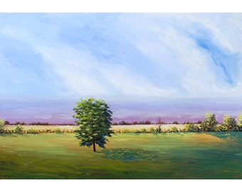 original Impressionist Landscape Painting Acrylic  tree trees tonalist cloudscape clouds lavender skies large canvas abstract 24 x 36
