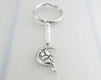 Fairy Charm Keychain, Fantasy Keyring, Silver Fairy On The Moon Keychain, Crescent Moon Charm Keychain, Fairy Gift, Fantasy Gift