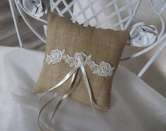 burlap wedding ring pillow cushion