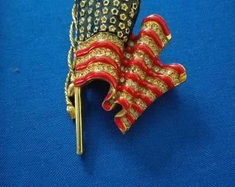 Signed Trifari Enamel and Rhinestone Waving Flag Brooch