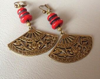 Bronze earrings, Japanese, ethnic bead and metal