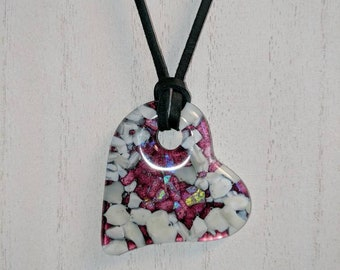 Fused Glass Purple Vanilla and Dichroic Heart Pendant Necklace