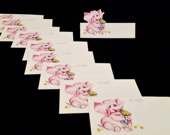 Vintage Pink Elephant Die Cut Place Cards, Tippling Elephant, Table Place Cards, Party Cards, Buffet Labels, Collectible Gibson Place Cards
