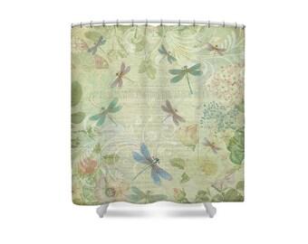 Yellow Bathroom Shower Curtain Dragonfly Dragonflies Decor Curtains Rings Etsy NZ