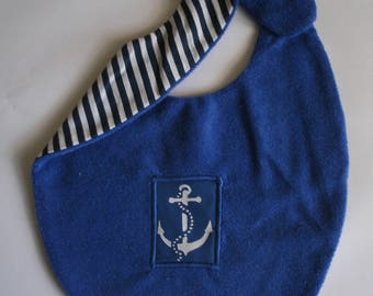 Navy Blue bib with anchor for a baby 0-24 months