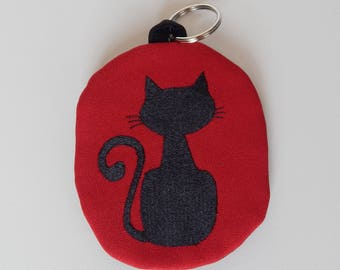 Keychain with Black Cat, Black Cat, Cat Themed Gift, Cat Lover Gift, Cats, Kitty Keychain, Small Purse with Cat, Coin Wallet  with Cat