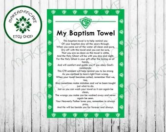 Instant Download LDS Baptism TOWEL CTR Towel Poem jpeg file