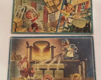 Four Bill Layne vintage 1950's Children Themed Puzzles