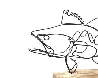 Bass Wire Sculpture, Fish Wire Art, Minimal Design Art, Wire Folk Art, 598028135