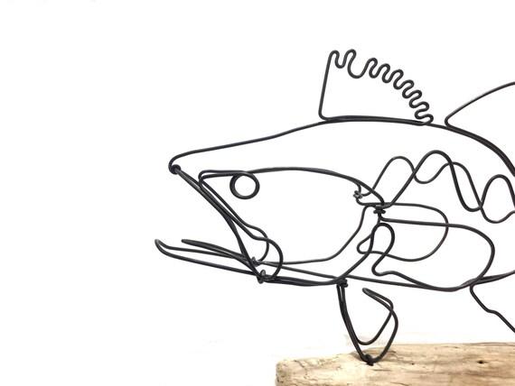 Bass Draht-Skulptur Fisch Draht Kunst minimalistisches
