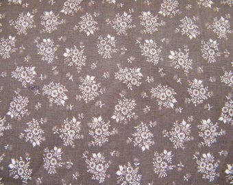 Light weight Vintage brown cotton, slightly polished fabric with tussy mussy floral bouquets