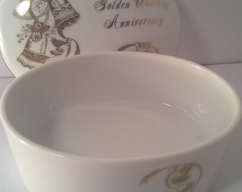 Hand Painted Fine China Lefton Golden Wedding Anniversary Trinket