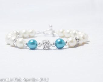 Teal and Ivory Pearl Rhinestone Bracelet, Bridal Jewellery, Wedding Jewellery