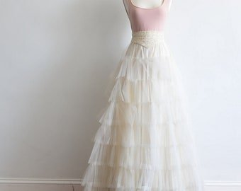 Emily-Dreamy vintage ivory tulle wedding skirt/ Wedding dress-ready to wear