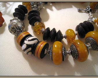 Beautiful Amber Copal Tribal Necklace - Big - Wood Saucers - Sterling Tubes - Tibetan Silver - African Bone- Reconstituted Amber - #1145