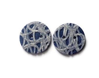 Sparkly Silver buttons - Polymer clay buttons - Crochet Supplies - Knitting Supplies - Crochet Accessories - Handmade Buttons - Buttons