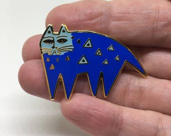 Laurel Burch Cat Brooch Pin - Mallory's Cat - Blue, Enamel, Cloisonne - 1980s